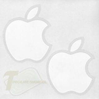 2 Two Genuine Authentic White Apple Logo Decal Stickers Auto or Truck Window