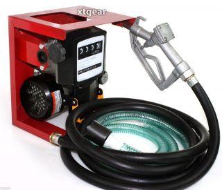New 110V Electric Oil Fuel Diesel Gas Transfer Pump w Meter 12' Hose Manual