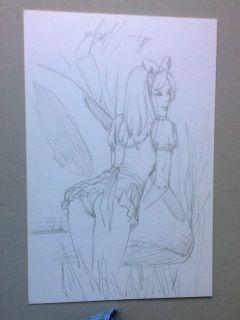 Alice from Wonderland Original Art EBAS Sketch Drawing on Board Signed Pencil