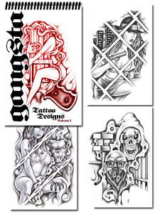 Tattoo Supplies Reference Book Flash Gangster Art Gangsta Loc Prison Style Grey