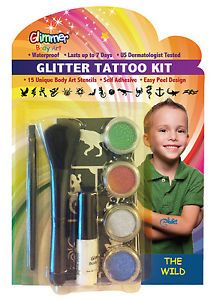 Glimmer Body Art Glitter Tattoo Tattoos Kit The Wild Boy 15 Stencils Shimmer