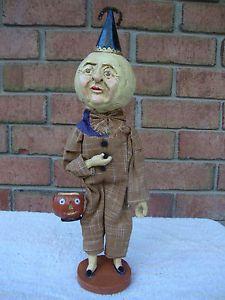 Moon Man Head Halloween Polliwog Paper Mache Primitive Folk Art New in Box