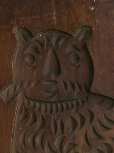 Wonderful Antique Folk Art 19th C Double Side Cookie Cake Board Cat Horse Signed