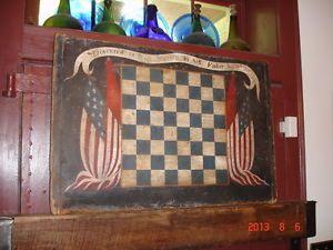 An Important American Folk Art Paint Decroated Presentation Game Board Superb