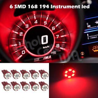 10x Bright Red T10 Wedge Gauge Cluster Instrumental Speedometer LED Light Bulb