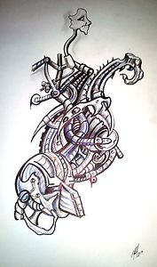 Original Drawing Cyberpunk Tattoo Biomechanical Art Mixed Media on Paper