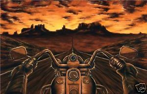 """Harley Davidson Signed Art Painting Paper 36""""X24"""""""