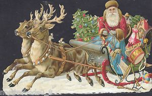 Sleigh Santa Reindeer Toys Art Germany Embossed Single Paper Supplies Ornament