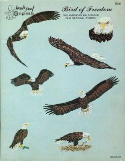"""Bird of Freedom"" American Bald Eagle USA Cross Stitch Pattern Leaflet Chart"