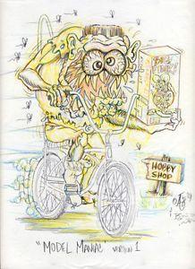 Johnny Ace Original Art Rat Fink Ed Big Daddy Roth Monster Bike Model Kit Kustom