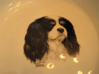 Cavalier King Charles Spaniel Dog Food Water Bowl Rosalinde Porcelain Hand Paint