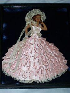 Rita Hayworth Vintage Antique Ribbon Art Lady Paper Doll Framed Picture Original