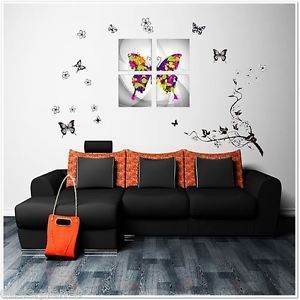 Huge Canvas Combo Butterflies Wall Stickers Mural Art Decal Self Adhesive Paper