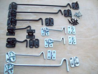 Steel Black Galvanised Cabin Hook and Eye Shed Gate Door Latch