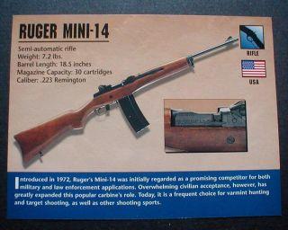 Ruger Mini 14 Rifle Photo Fact Firearms Gun Card