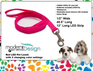 Bright Red Color LED Flashing Leash Terrier Shih Tzu Collie Hound Pit Bull Pug