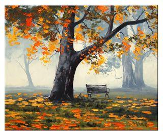 Gercken Park Bench Autumn Trees Colors Landscape Fine Art Original Oil Painting