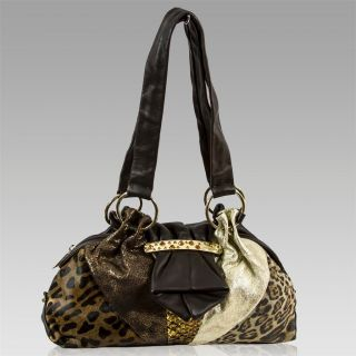 Renato Angi Italian Designer Patchwork Brown Leather Jeweled Gathered Purse Bag