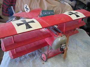 Cox Thimble Drome Gas Powered Old Wood Fokker Tri Plane