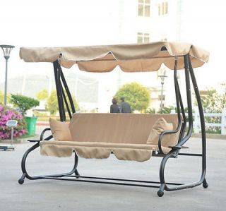 ... Metal Frame Outdoor Porch Patio Canopy Swing Bench Convertible Bed