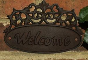 Welcome Sign Cast Iron Garden Door Gate Oval Wall PLAQUE18CM x 11cm Out Side New