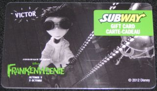 "Subway Canada Frankenweenie ""Victor"" Disney 2012 Gift Card No Value Bilingual"