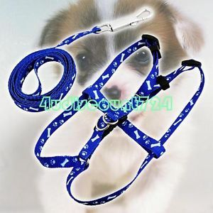 Pet Dog Puppy Nylon Lead Pulling Harness Leash Rope Blue