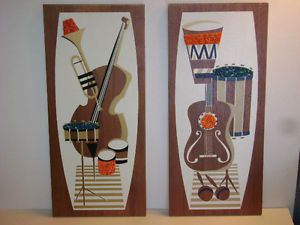 Vtg Mid Century Wall Plaques Bongos Guitar Very Cool Gravel Art