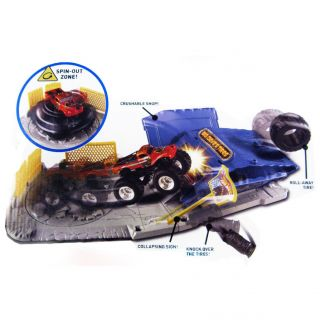 New Hot Wheels Monster Jam Tire Shop Crash Pack Play Set w Captains Curse Truck