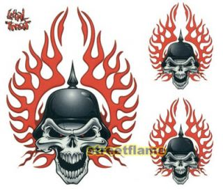 Biker Skull Flame Decal Window Tank Surf Skates Sticker