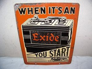"RARE Vintage 1930's Exide Battery Batteries Gas Oil 2 Sided 15"" Metal Sign w Car"