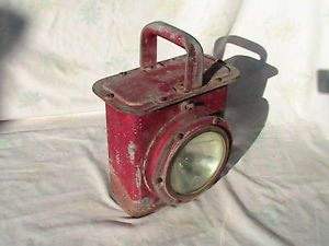 Vintage Nautical Ships Red Battle Lantern Dry Cell Battery Maritime US Anchor