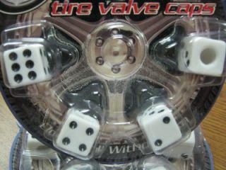 "4 Custom White ""Dice"" Valve Stem Caps Covers Cars Trucks Hot Rods Vans SUVs"