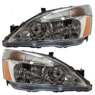 New Pair Set Headlight Headlamp Lens Housing Assembly SAE Dot 03 07 Honda Accord