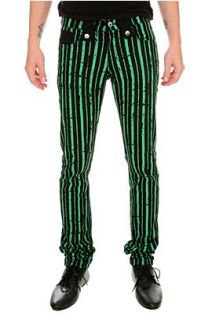 Lip Service Black And Green Striped Skinny Jeans