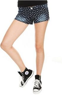 Almost Famous Blue White Polka Dot Short Shorts