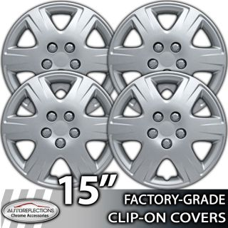 "2005 2008 Toyota Corolla 15"" Chrome Clip on Hubcaps Wheel Covers"