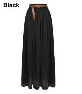 Black Women Chiffon Pleated Retro Long Elastic Waist Band Maxi Dress Skirt