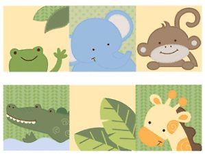Jungle Animals Monkey Wall Border Decals Nursery Baby Kids Room Stickers Decor