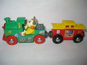 Brio Wooden Train Set Richard Scarry Busytown Huckle Cat Engine Caboose Lot