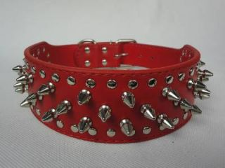 "2"" Red Rows Spiked Studded Leather Pitbull German Shepherd Dog Collar"