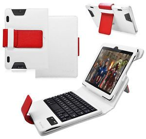 bluetooth keyboard stand leather case for kindle fire hdx 8 9 white red