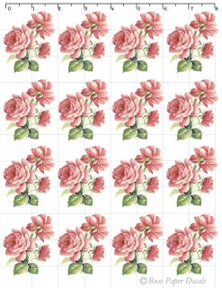 VF 12 Victorian Vintage Chic Shabby Style Ink Pink Paint Roses Waterslide Decals