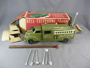 Hubley Bell Telephone Truck w Accessories Trailer Pole Box Minty