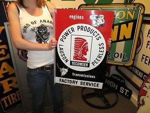Early Tecumseh Engines Transmissions Service Flange Metal Sign Nice Shape