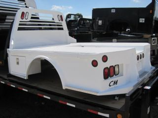 White cm SK Modeltruck Bed with Tool Boxes Flatbed Service Body Utility 78417