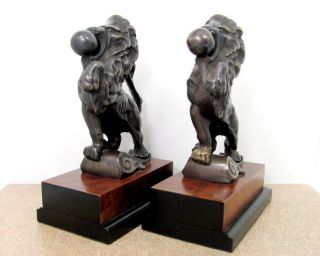 Vintage Bronze Lion Bookends Figure Statue Ball in Mouth