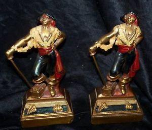 Pirate Buccaneer Bronze Clad Armor Antique Bookends Book Ends Vtg Art Deco 1920s