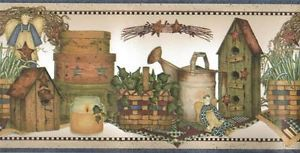 Wallpaper Border Country Angels Ivy Baskets Birdhouses Watering Cans Blue Trim