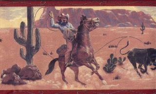 Wallpaper Border Western Cowboy Roping Rust Trim